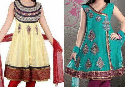Green-Kids-Beautiful Anarkali-Frocks-Suit-Designs-2015-Indian-Collection-Pakistani-Party-Wedding