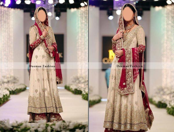 Latest Beautiful Sharara and Gharara Bridal Wedding Dress Designs 2015 Off White India Pakistan