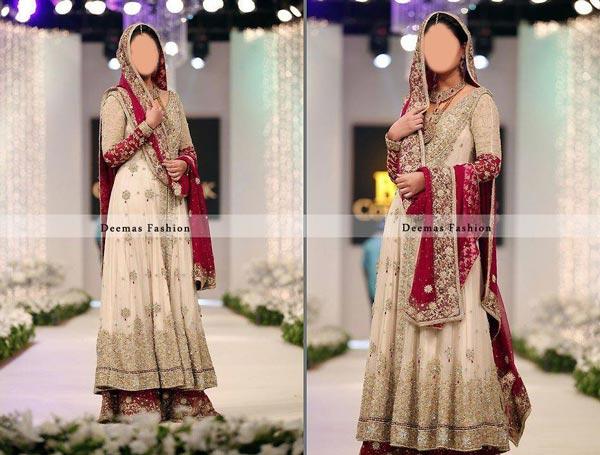 Latest Beautiful Sharara and Gharara Bridal Wedding Dress Designs 2015 Off White India Pakistan
