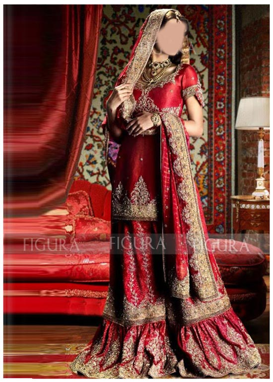 Latest Beautiful Sharara and Gharara Bridal Wedding Dress Designs 2015