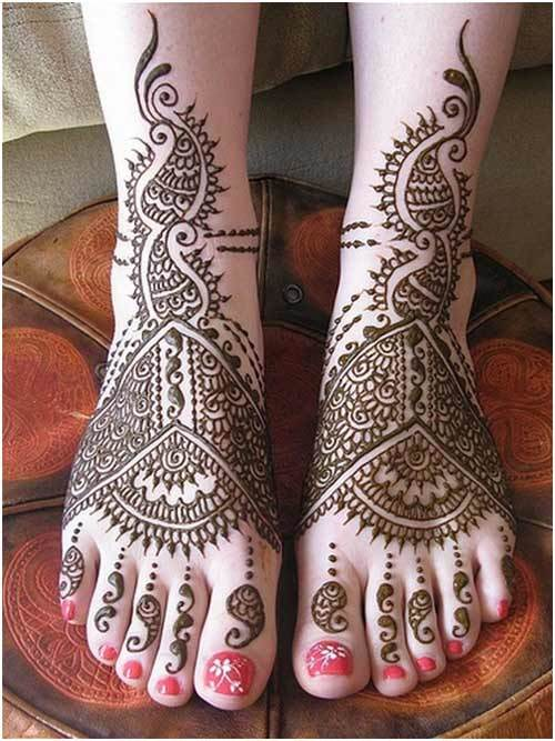 Latest Best Fancy Beautiful Bridal Feet Mehndi Designs 2015 Indian Wedding Simple Wallpaper