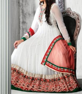 Latest Fashion 2015 of Angrakha Style Anarkali Frock Suits Churidar in India Pakistan White