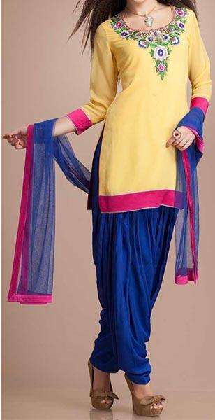 Latest Fashion of Patiala Salwar Kameez Kurti 2015, Punjabi Suit Neck Gala Designs India Blue Yellow