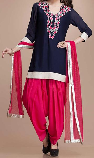 Latest Fashion of Patiala Salwar Kameez Kurti 2015, Punjabi Suit Neck Gala Designs India Pink Royal Blue