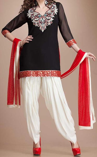 Latest Fashion of Patiala Salwar Kameez Kurti 2015, Punjabi Suit Neck Gala Designs India Red and White Black