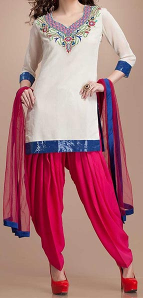 Latest Fashion of Patiala Salwar Kameez Kurti 2015, Punjabi Suit Neck Gala Designs India White Pink