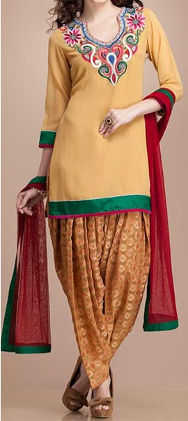 Latest Fashion of Patiala Salwar Kameez Kurti 2015, Punjabi Suit Neck Gala Designs India Yellow