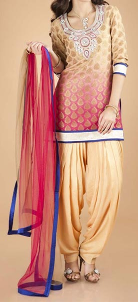 Latest Fashion of Patiala Salwar Kameez Kurti 2015, Punjabi Suit Neck Gala Designs India