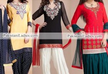 Latest New Fashion of Patiala Salwar Kameez Kurti 2015, Punjabi Suit Neck Gala Designs India Red and White Black