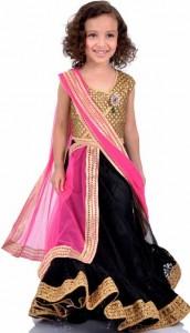 Little Girls Kids Sharara Lehenga Choli 2015 Indian Designs Black