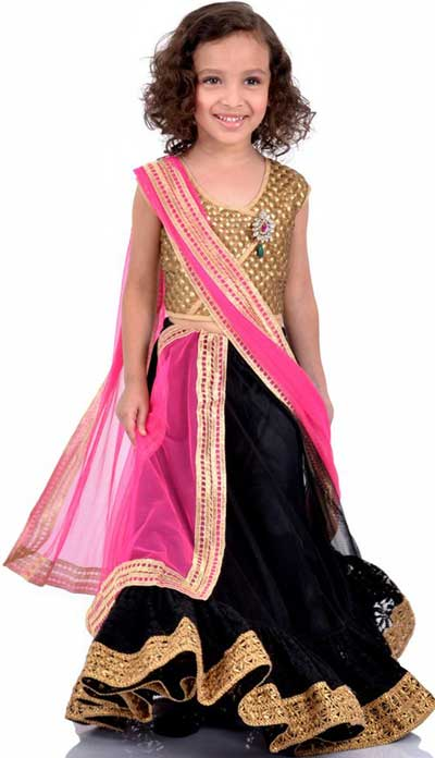 Little Girls Kids Sharara Lehenga Choli 2015 Indian Designs Black