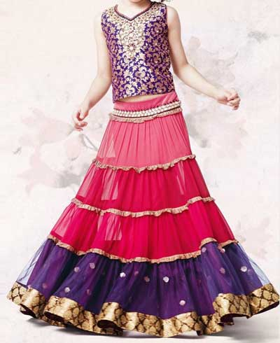 Little Girls Kids Sharara Lehenga Choli 2015 Indian Designs Dress