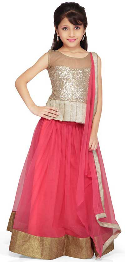 Little Girls Kids Sharara Lehenga Choli 2015 Indian Designs Net Pink Dress