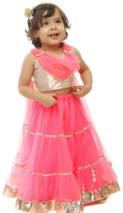 Little Girls Kids Sharara Lehenga Choli 2015 Indian Designs Net Pink Dresses - Asian Wedding Long Dress