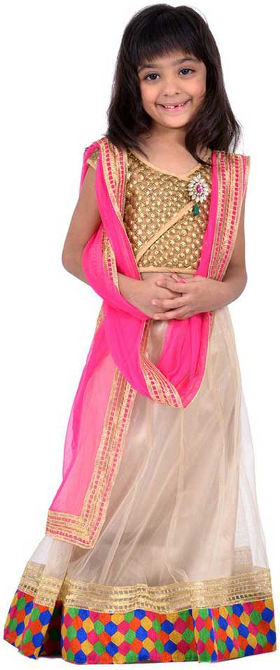 Little Girls Kids Sharara Lehenga Choli 2015 Indian Designs Net Pink White Dress