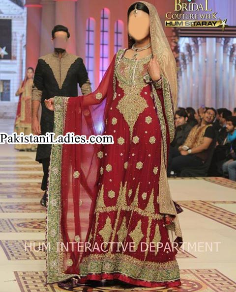 Long Shirt Frock Bridal Wedding Dress 2015 by Pakistani Fashion Designer