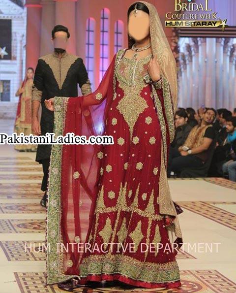 Long Shirt Frock Bridal Wedding Dress 2015 by Pakistani Fashion Designer