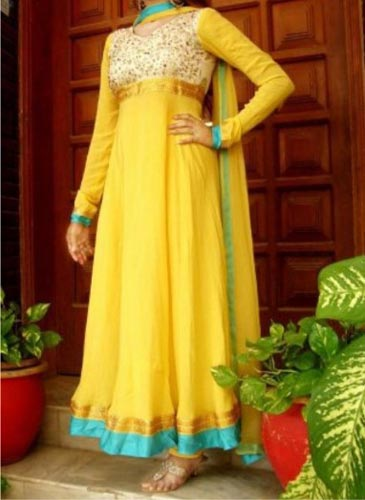 Mehndi-Mayon-Yellow-Dress-Suit-Dupata-Long-Frock-Beautiful-Designs-2015-Indian-Pakistani