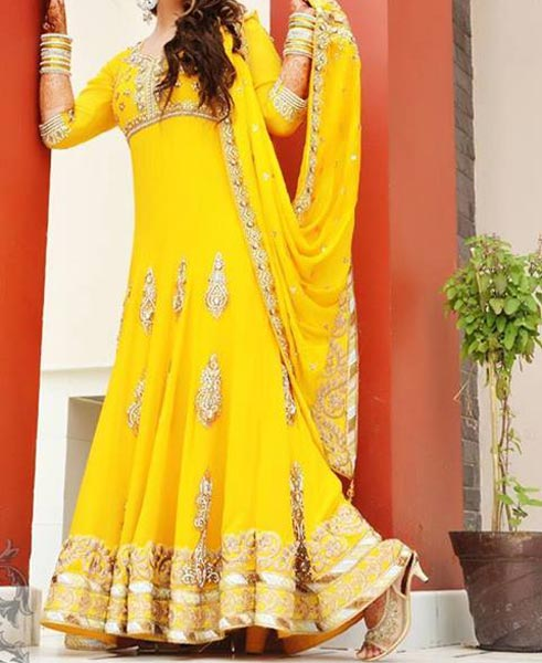 Mehndi Mayon Yellow Dress Frock Stylish Designs 2015