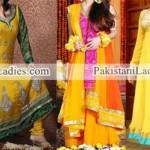Mehndi Mayon Yellow Dress & Frock Stylish Designs 2015 Indian