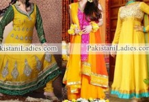 Mehndi Mayon Yellow Green Dress Frock 2015 Pakistani Indian Designs