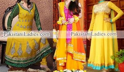 Mehndi Mayon Yellow Green Dress Frock 2015 Pakistani Indian Designs