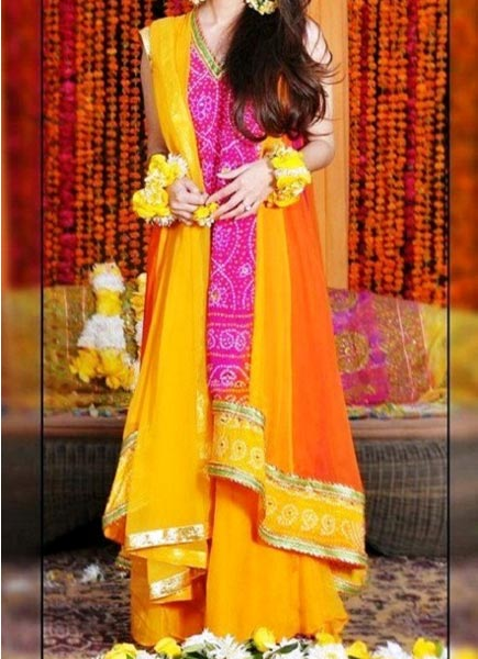 Mehndi-Mayon-Yellow-Pink-Orange-Dress-Suit-Dupata-Frock-Stylish-Designs-2015-Indian-Pakistani