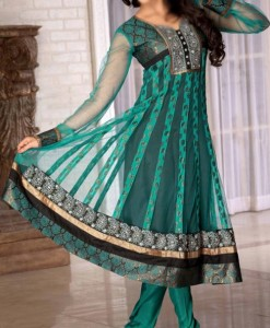 Net Beautiful Green Indian Models Anarkali Frock Suits 2015 Designs for Party and Wedding