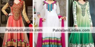 Net Beautiful Green White Indian Models Anarkali Frock Suits 2015 Designs for Party and Wedding