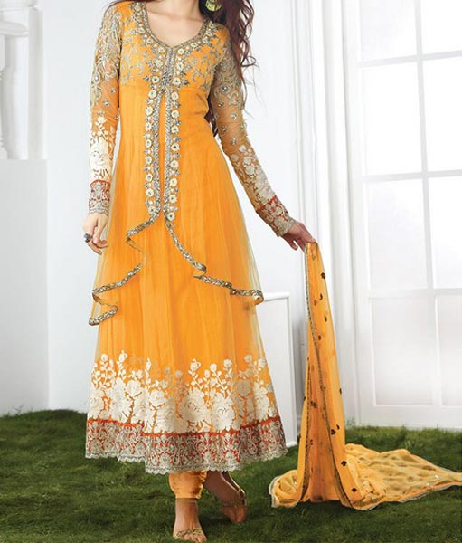 Net-Orange-Mehndi-Mayon-Yellow-Dress-Suit-Dupata-Frock-Stylish-Designs-2015-Indian-Pakistani