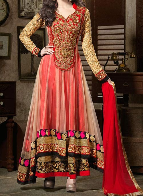 Net Stylish Indian Models Anarkali Frock Suits 2015 Designs for Party and Wedding