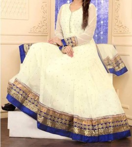 Net White Stylish Indian Models Anarkali Frock Suits 2015 Designs for Party and Wedding