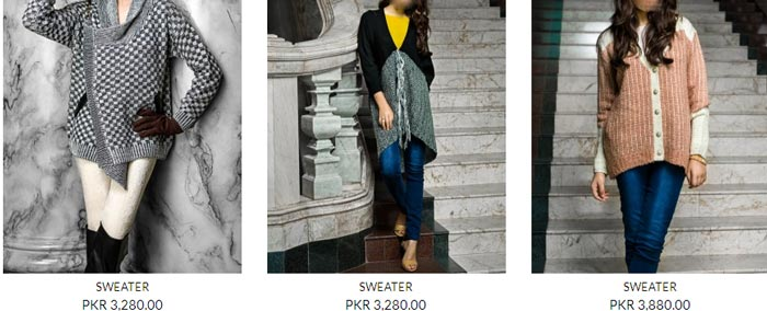New Winter Collection Designs Bonanza Pakistan Sweaters, Jerseys, Jackets, Jarsi 2014 2015 with Prices for Women Girls