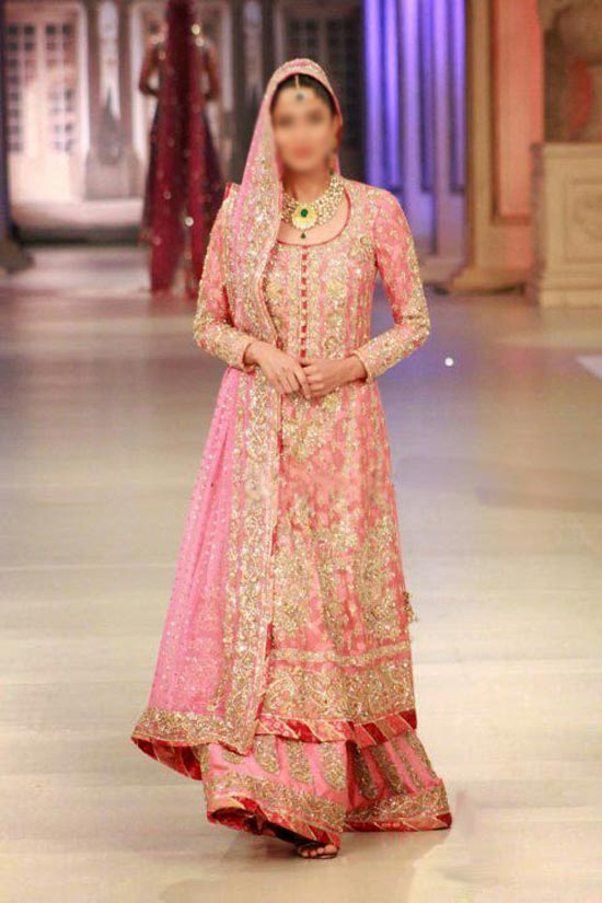 Nomi-Ansari-Bridal-collection Latest Beautiful Sharara and Gharara Bridal Wedding Dress Designs 2015 Red Pakistan India