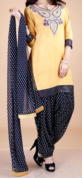 Party_Wear_Patiala_ Latest Fashion of Patiala Salwar Kameez Kurti 2015, Punjabi Suit Neck Gala Designs India