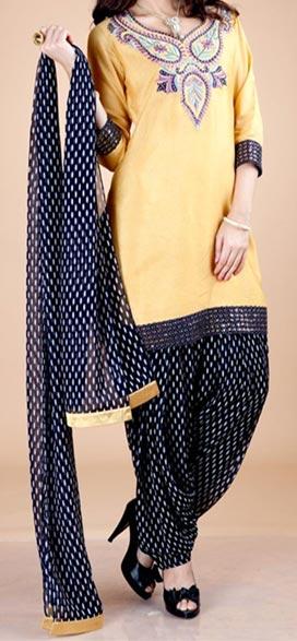 Party_Wear_Patiala_ Latest Fashion of Patiala Salwar Kameez Kurti 2015, Punjabi Suit Neck Gala Designs India