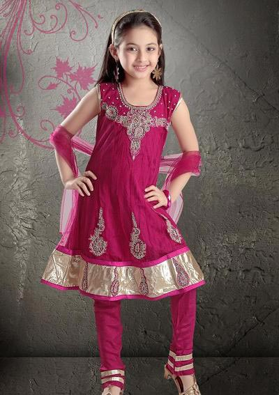 Pink-Stylish-Kids-Anarkali-Frocks-Suit-Designs-2015-Indian-Collection-Pakistani-Party-Wedding