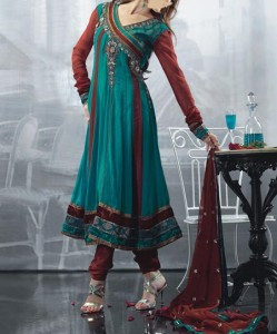 Stylish-Beautiful Latest Fashion 2015 of Angrakha Style Anarkali Frock Suits Churidar in India Pakistan Green