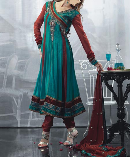 Stylish-Beautiful Latest Fashion 2015 of Angrakha Style Anarkali Frock Suits Churidar in India Pakistan Green
