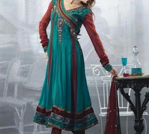 Stylish-Beautiful-Latest-Fashion-2015-of-Angrakha-Style-Anarkali-Frock-Suits-Churidar-in-India-Pakistan-Green