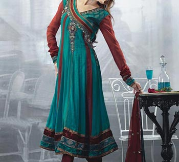 Stylish-Beautiful-Latest-Fashion-2015-of-Angrakha-Style-Anarkali-Frock-Suits-Churidar-in-India-Pakistan-Green