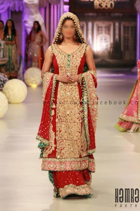 Stylish Beautiful Sharara and Gharara Bridal Wedding Dress Designs 2015 Red Pakistan India