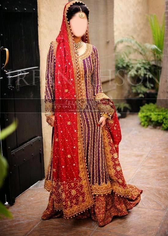 Stylish Beautiful Sharara and Gharara Bridal Wedding Dress Designs 2015