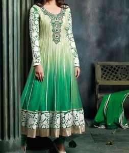 Stylish Green off White Indian Models Net Anarkali Frock Suits 2015 Designs for Party and Wedding