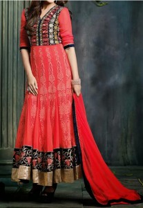 Stylish Net Red Indian Models Anarkali Frock Suits 2015 Designs for Party and Wedding