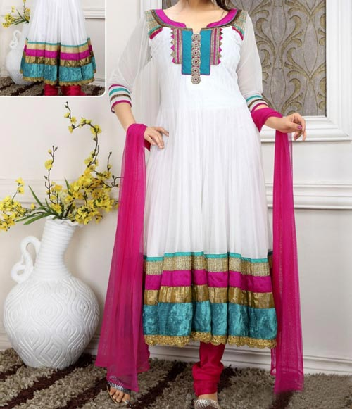 Stylish Pink White Indian Models Net Anarkali Frock Suits 2015 Designs for Party and Wedding