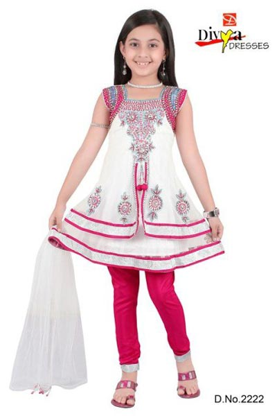 White-Kids-Anarkali-Frocks-Suit-Designs-2015-Indian-Collection-Pakistani-Party-Wedding