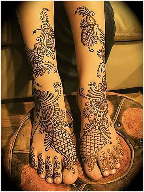 dulhan Latest Best Fancy Beautiful Bridal Feet Legs  Mehndi Designs 2015 Indian Wedding Simple