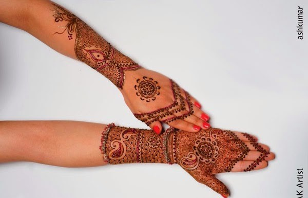 Amazing Beautiful Bridal Henna Mehndi Designs 2015 for Full Hands Wedding Eid Party Indian