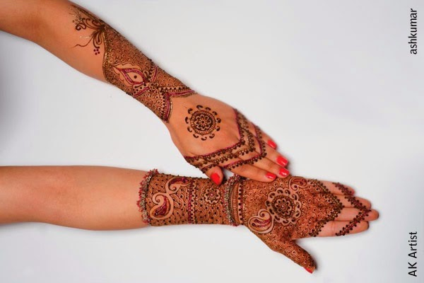 Amazing Beautiful Bridal Henna Mehndi Designs 2015 for Full Hands Wedding Eid Party Indian